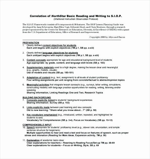 Siop Lesson Plan Template 2 Siop Lesson Plan Template 2 Best Siop Lesson Plan