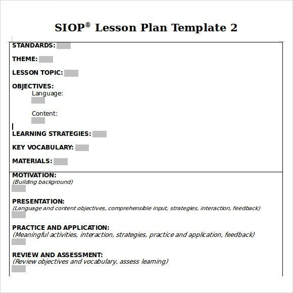 Siop Lesson Plan Template 2 Siop Lesson Plan Template 3 Example Here S why You Should