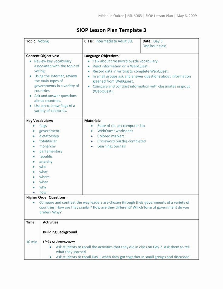 Siop Lesson Plan Template 3 Siop Lesson Plan Template 2 Best Types Lesson Plan