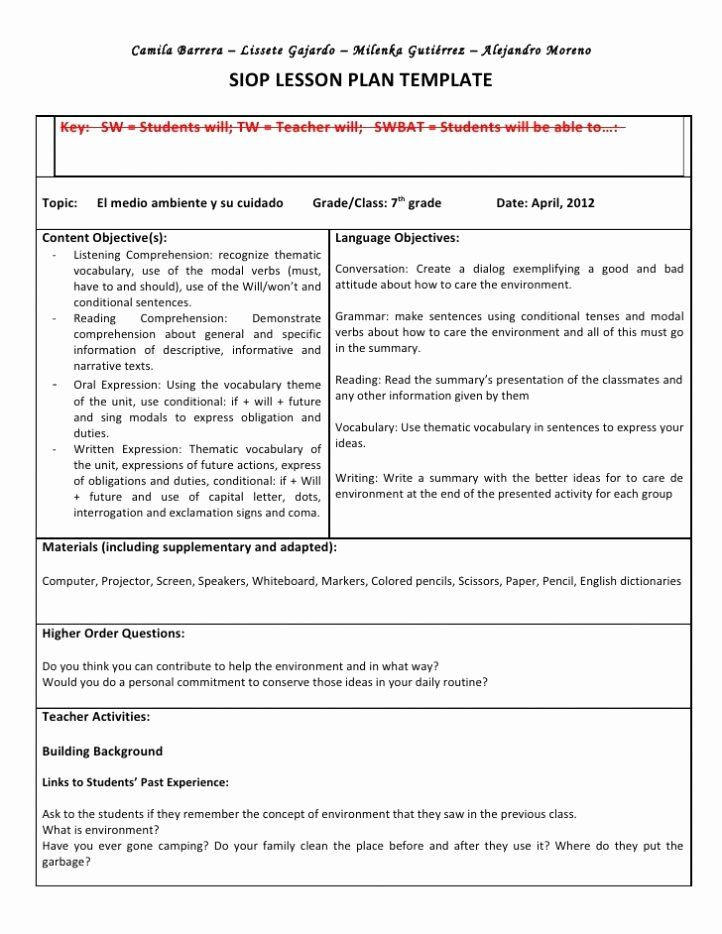 Siop Lesson Plan Template 3 Siop Lesson Plan Template 3 Fresh Siop Lesson Plan In 2020