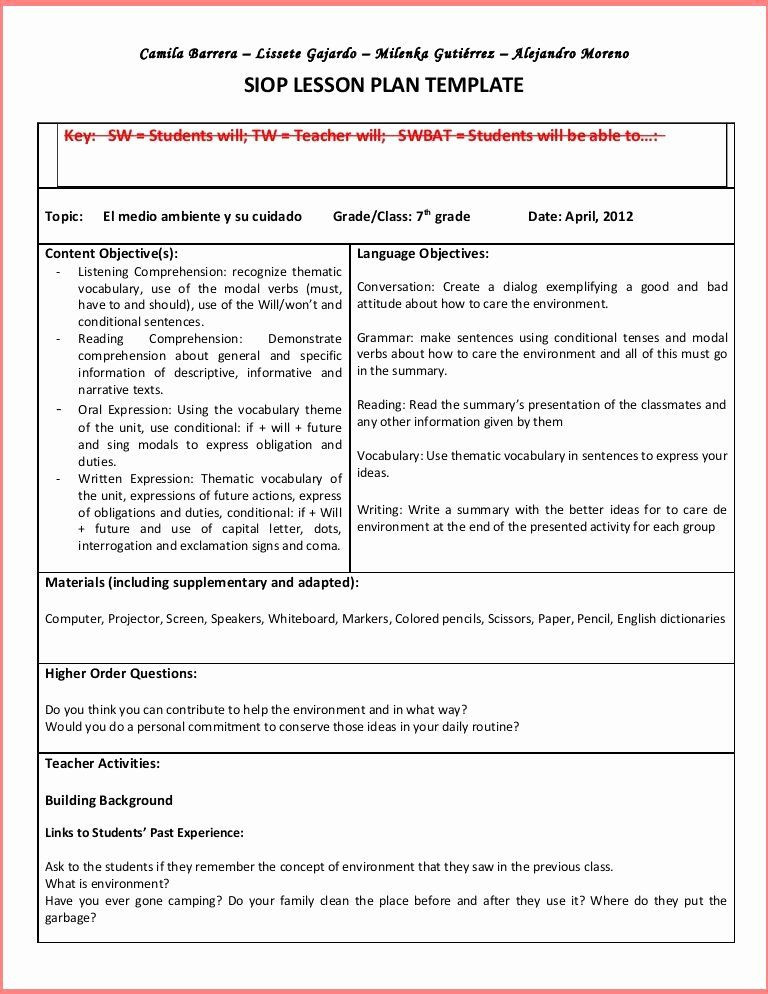 Siop Lesson Plan Template 4 Hunter Lesson Plan Template Beautiful Madeline Hunter Lesson
