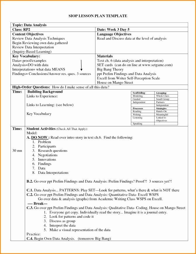 Siop Lesson Plan Template 4 Siop Lesson Plan Template 3 Lovely Siop Lesson Plan Template