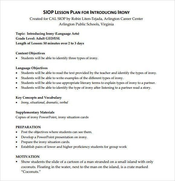 Siop Lesson Plan Template 4 Siop Lesson Plan Template 4 Unique Sample Siop Lesson Plan 9