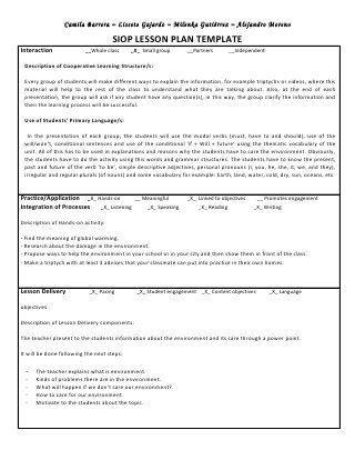 Siop Lesson Plan Template 4 Siop Unit Lesson Plan Template Sei Model In 2020