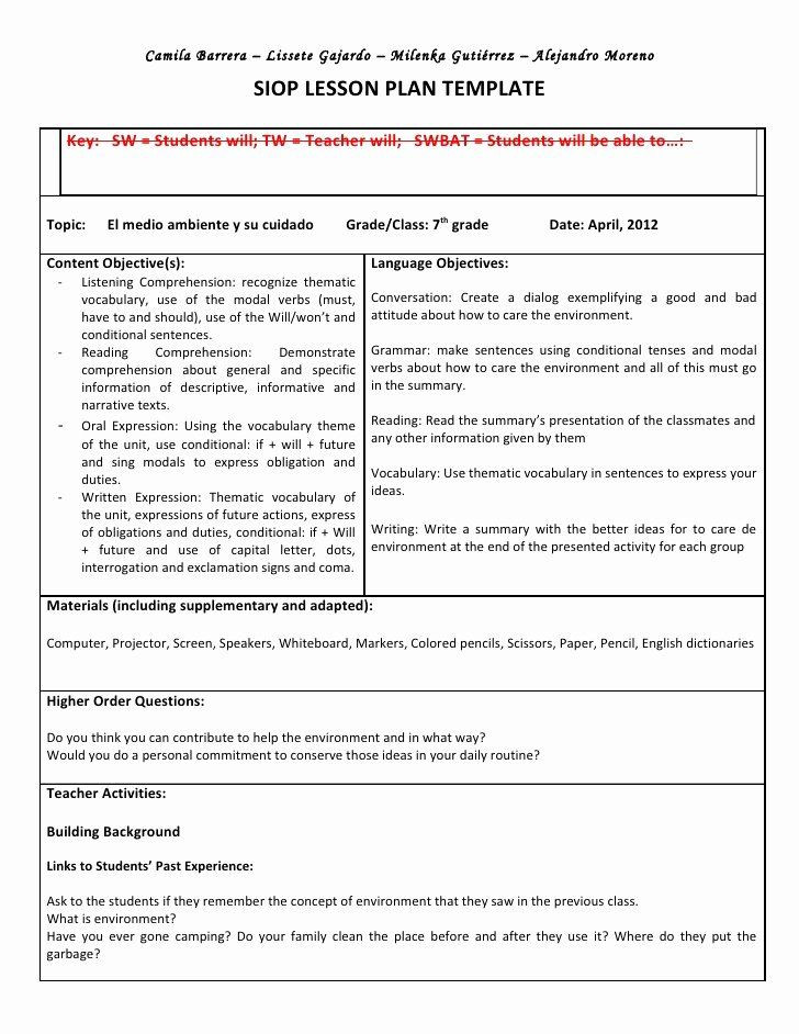 Siop Model Lesson Plan Template Siop Lesson Plan Template 2 Inspirational Siop Unit Lesson