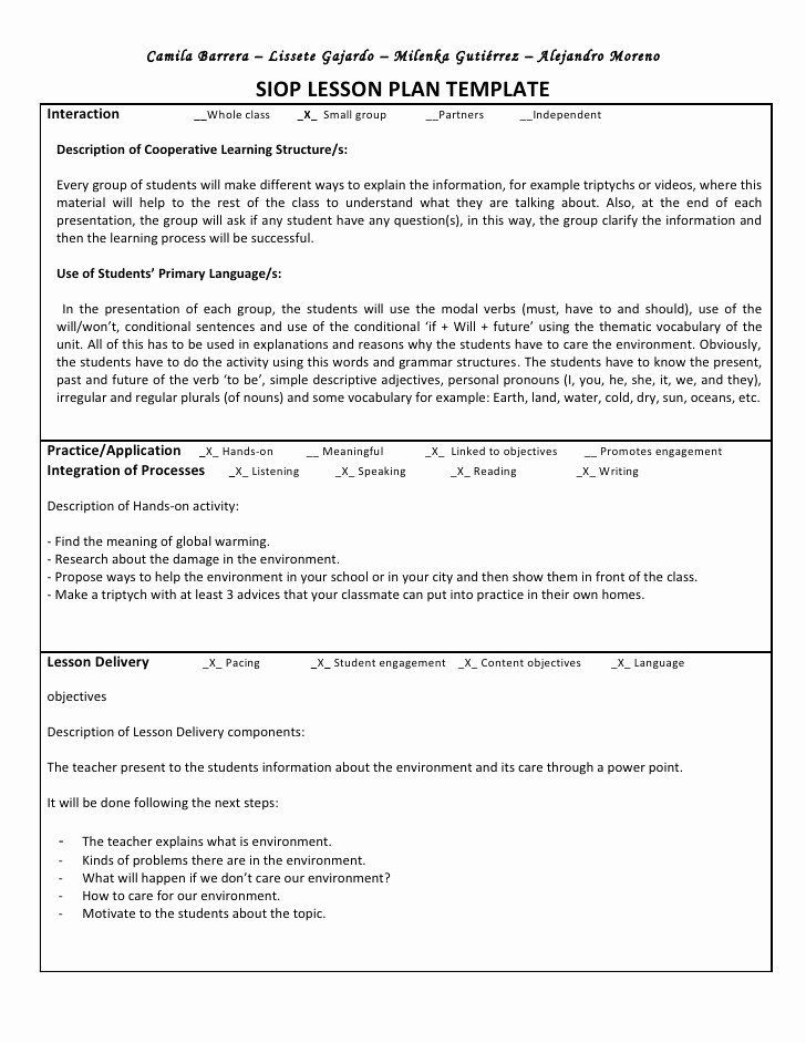 Siop Model Lesson Plan Template Siop Model Lesson Plan Template Elegant Siop Unit Lesson