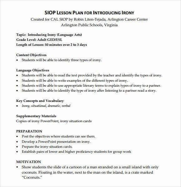 Siop Model Lesson Plan Template Siop Model Lesson Plan Template Unique Sample Siop Lesson