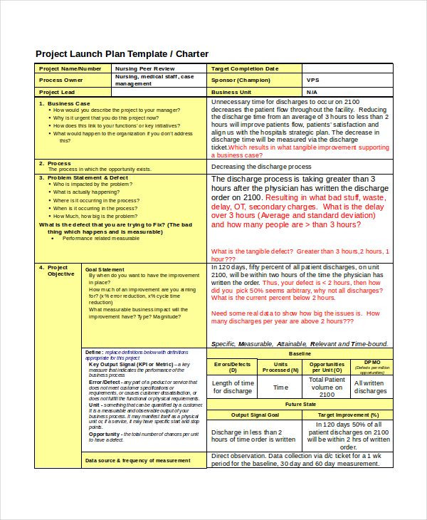 Six Sigma Project Plan Template 9 Six Sigma Examples