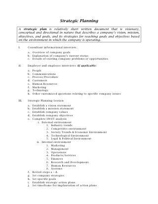 Small Business Strategic Planning Template 23 Strategic Planning Outline