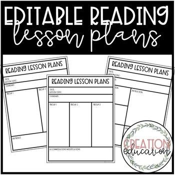 Small Group Lesson Plans Template 2 Over 40 Lesson Plans Included Editable Reading Templates