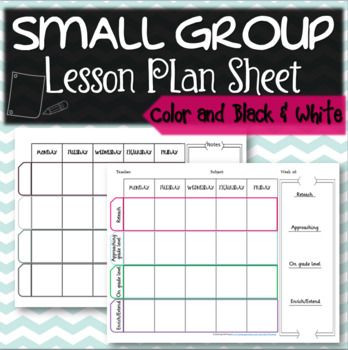 Small Group Lesson Plans Template This Small Group Lesson Plan Sheet is Editable and Allows
