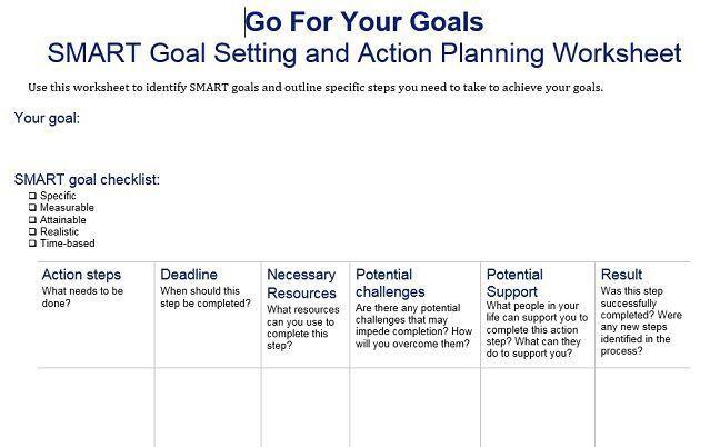 Smart Action Plan Template Image Result for Smart Goal Setting Worksheet