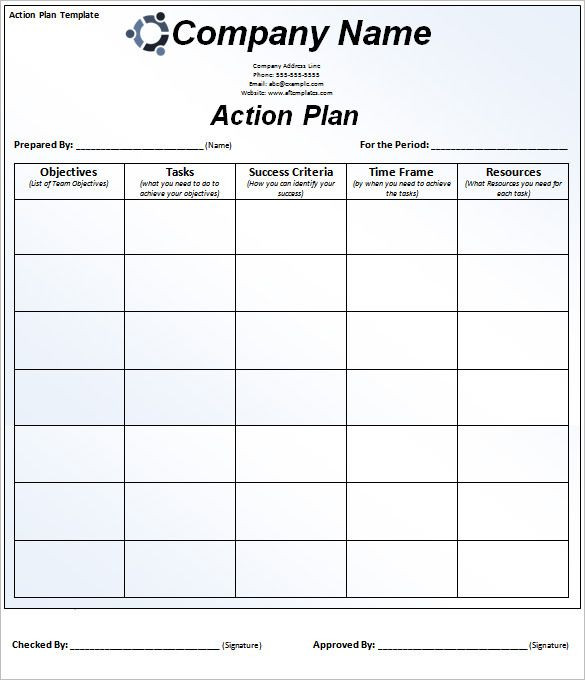 Smart Action Plan Template Word Excel Pdf Apple Pages