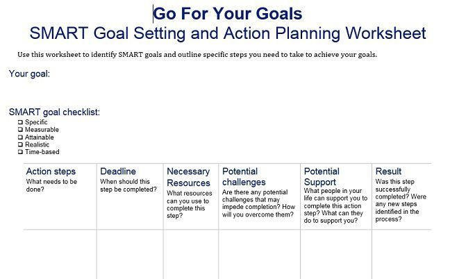 Smart Action Plans Template Image Result for Smart Goal Setting Worksheet
