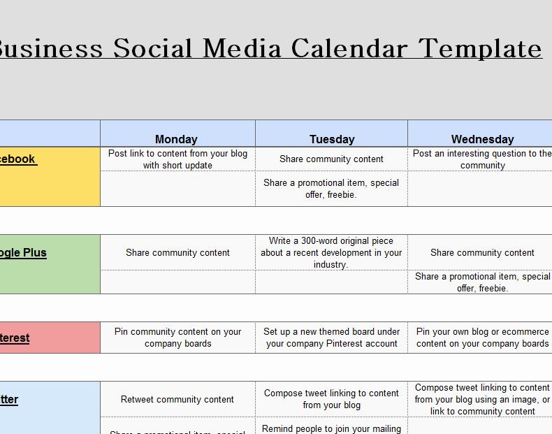 Social Media Plan Template Excel social Media Calendar Template Download New 2016 social