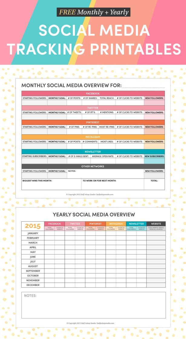 Social Media Planner Template 2015 social Media Tracking Printables