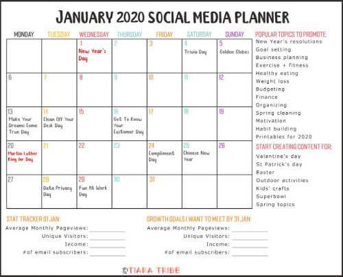 Social Media Planner Template Free January 2020 Calendar