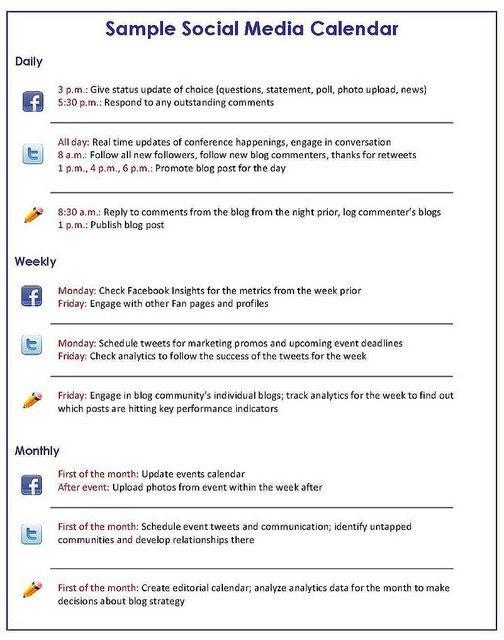 Social Media Planner Template Pin by Msuptown On social Media Marketing