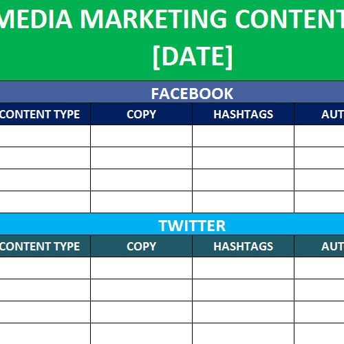 Social Media Planner Template social Media Calender Template Excel 2014
