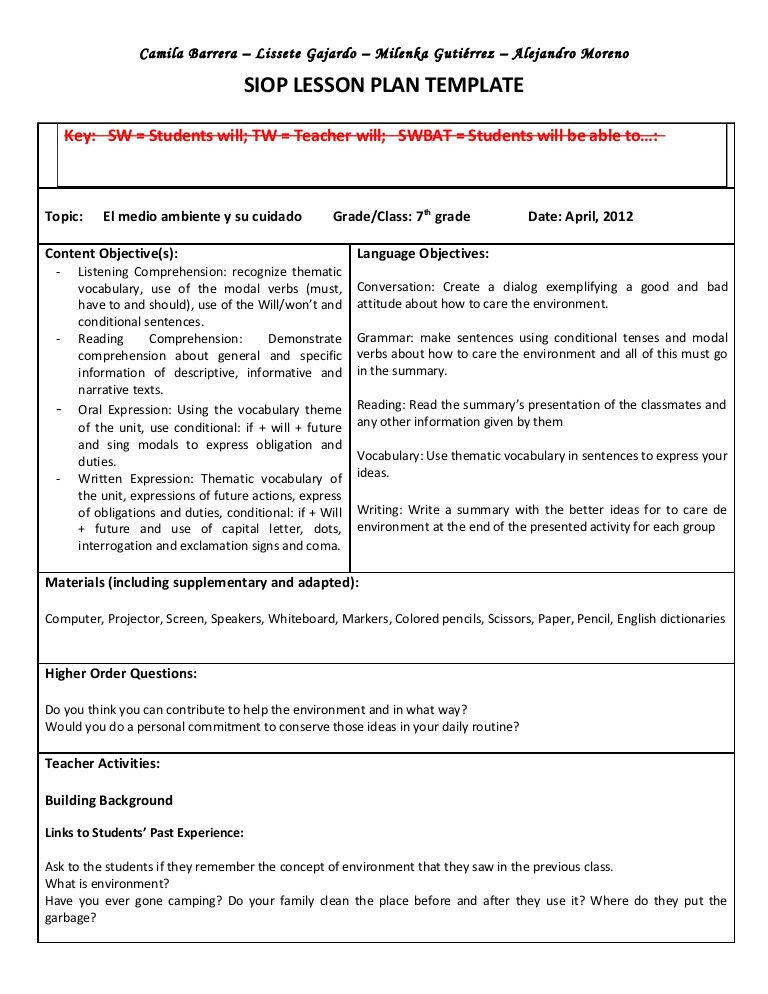 Social Studies Lesson Plan Template Siop Unit Lesson Plan Template Sei Model