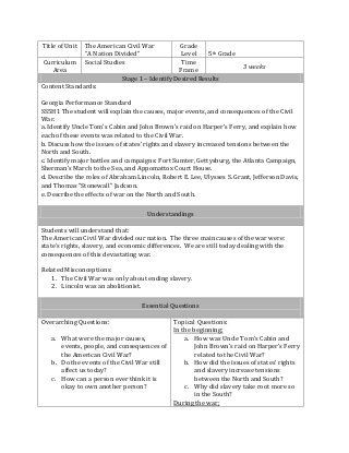 Social Studies Lesson Plan Template Ubd Lesson Plan