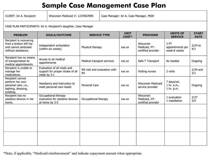 Social Work Case Plan Template Image Result for Case Management Treatment Plan Template