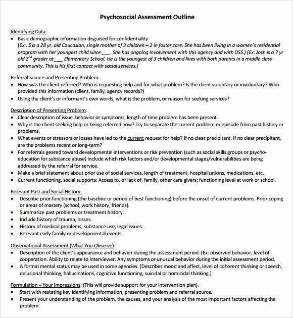 Social Work Treatment Plan Template social Work assessment form Fresh Free 8 Sample Psychosocial