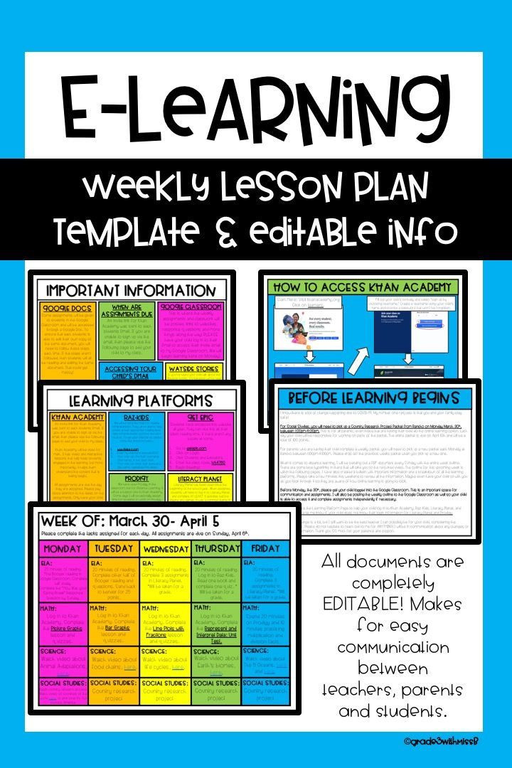 Socratic Seminar Lesson Plan Template Distance Learning Weekly Lesson Plan Template & Info Sheets