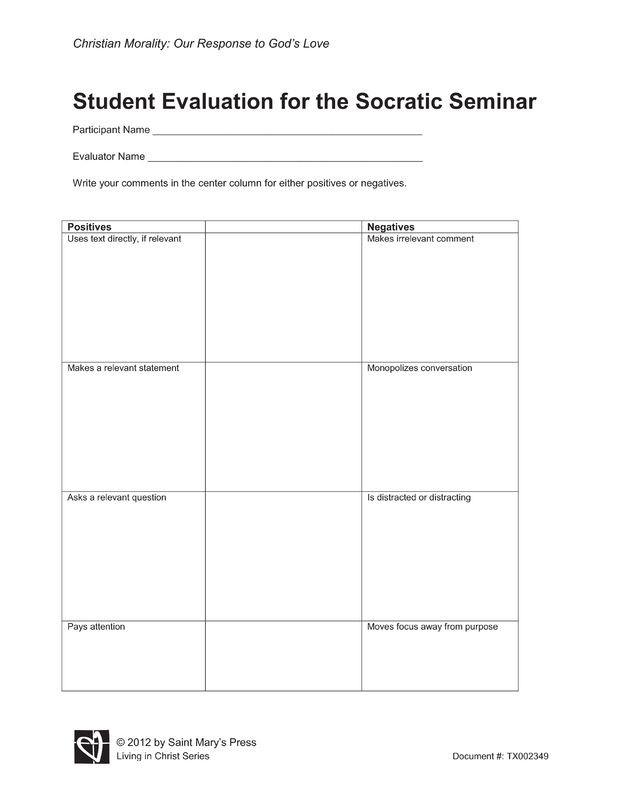 Socratic Seminar Lesson Plan Template Student Evaluation Of the socratic Seminar