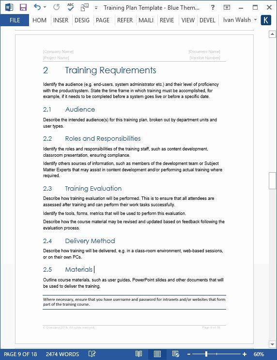 Software Training Plan Template Training and Development Plan Template Elegant software