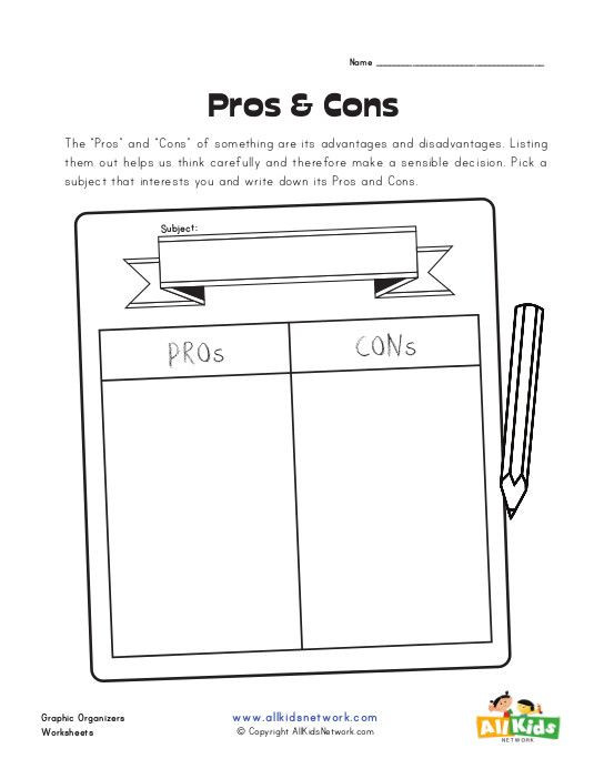Sounds Sensible Lesson Plan Template Pros and Cons Graphic organizer