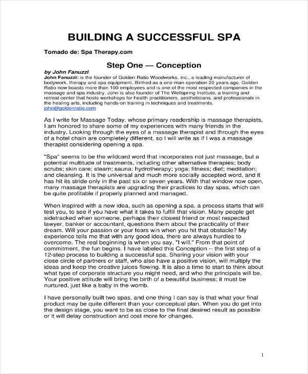 Spa Business Plan Template Massage Business Plan Template Free Best 6 Massage