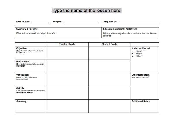 Spanish Lesson Plan Template Content 2011