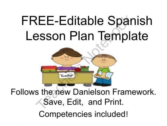 Spanish Lesson Plan Template Teachers Notebook