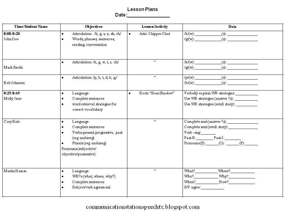 Speech therapy Lesson Plan Template Example Lesson Plan 960—720 Pixels