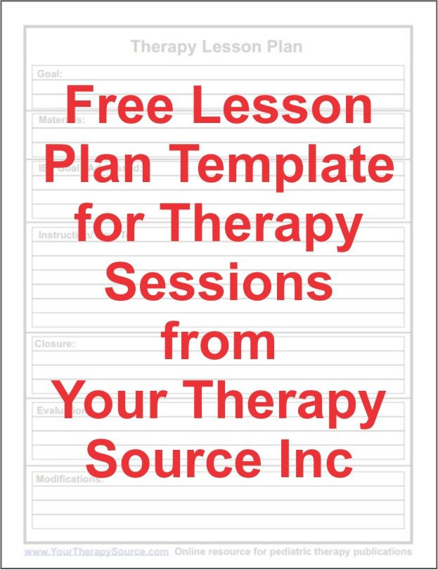 Speech therapy Lesson Plan Template Free Lesson Plan Template for Ot Pt Slp