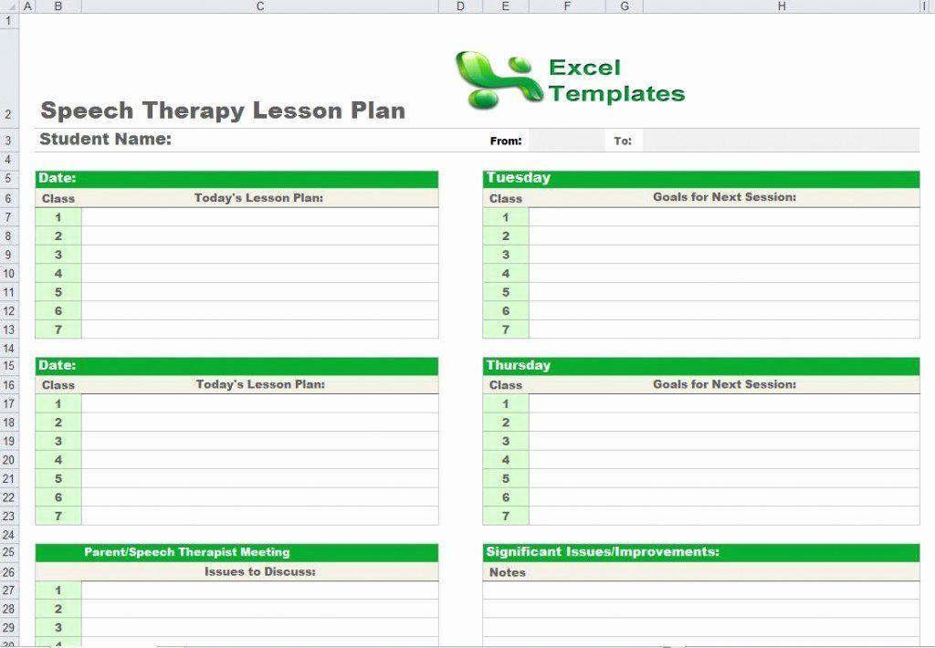 Speech therapy Lesson Plan Template Speech therapy Schedule Template Elegant Speech therapy