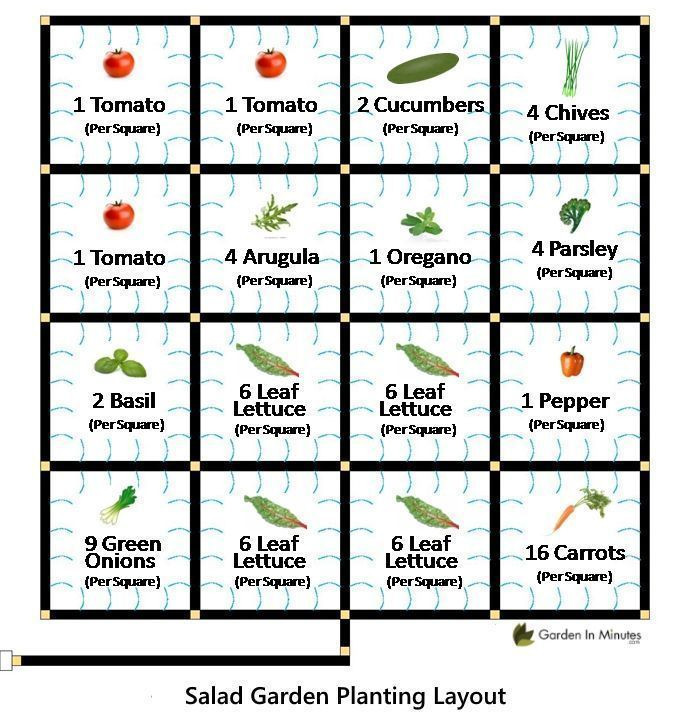 Square Foot Garden Planting Template Salad Garden Layout A Grid Planting Guide that Lays Out