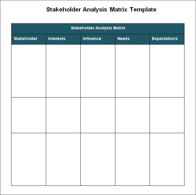 Stakeholder Management Plan Template Excel Stakeholder Analysis Templates