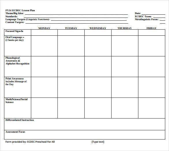 Standard Lesson Plan Template Simple Preschool Lesson Plan Template Inspirational Sample
