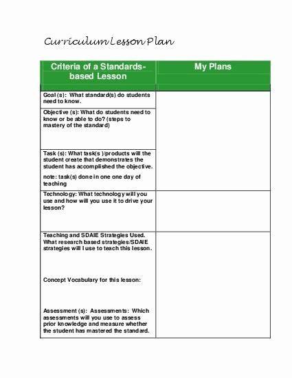 Standard Lesson Plan Template Standard Based Lesson Plan Template Fresh Teacherlingo $1 49