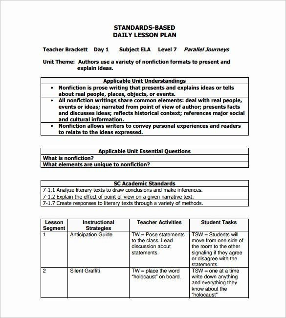 Standards Based Lesson Plan Template Nys Lesson Plan Template New Daily Lesson Plan Template 15