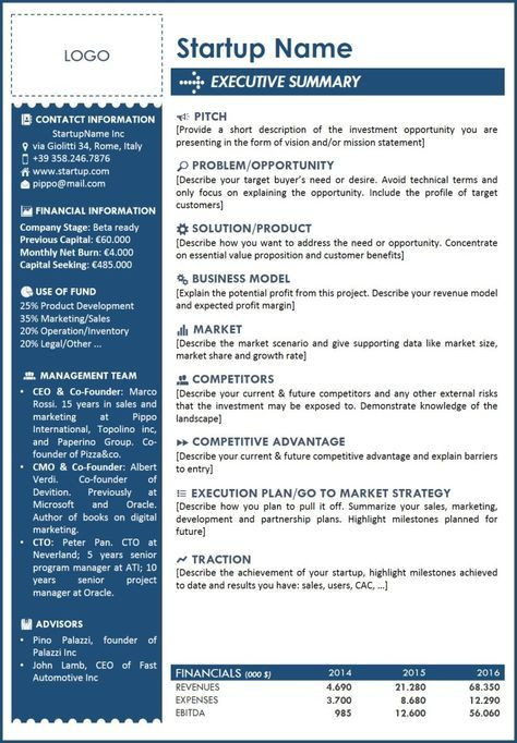 Startup Marketing Plan Template Executive Summary Template for Startup A One Page with All
