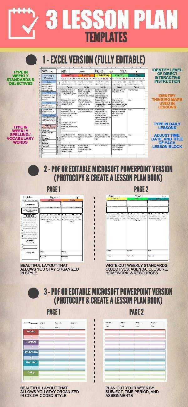 Student Centered Lesson Plan Template Lesson Plan Templates Multiple Editable & Pdf Versions