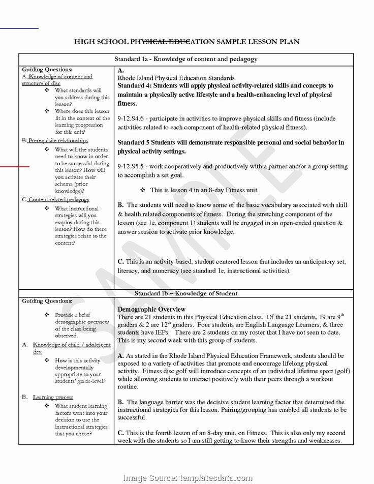Student Centered Lesson Plan Template Physical Education Lesson Plans Template New Excellent How