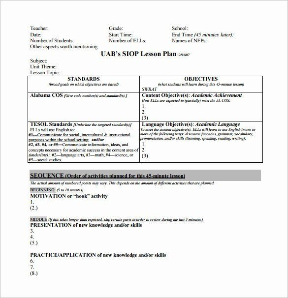 Student Centered Lesson Plan Template Standards Based Lesson Plan Template Best 10 Siop Lesson