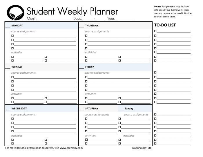 Student Planner Template Pin by Rhonda Easter On Planners