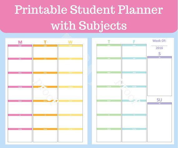 Student Planner Template Student Planner Printable with Subjects Middle School