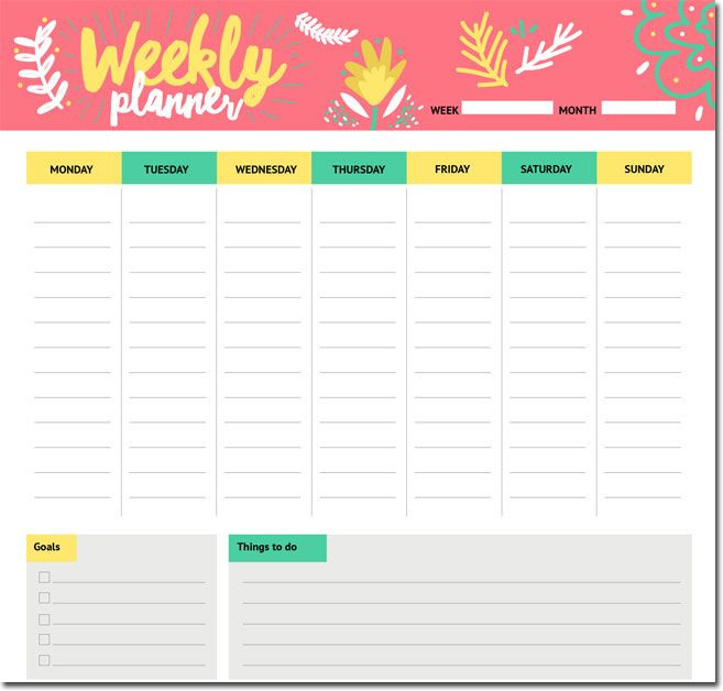 Student Weekly Planner Template 10 Students Weekly Itinerary and Schedule Templates In 2020