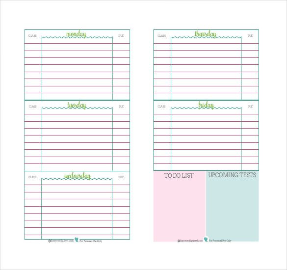 Student Weekly Planner Template Pdf Doc Free & Premium Templates